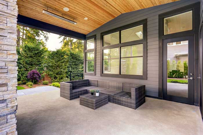Grey patio and black trim